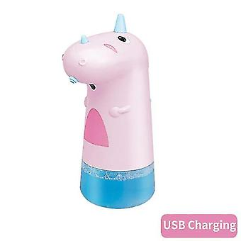 250ML Portable Cute Dinosaur Automatic Soap Dispensers Child Bathroom Accessories Touchless(pink)