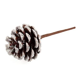 12 Glitter & Snow Tipped Pine Cones on Picks for Floristry Crafts