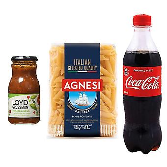 Seven Trees Farm Kit with 3 products | 1 x Coca Cola, 1 x Tomato & Basil Sauce Jar, 1 x Italian Penne Pasta, Enjoy a portion of delicious pasta and cool off with a cola!