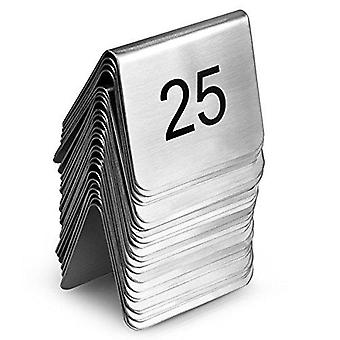 Stainless steel table number set 1-25 - tent style table number stands for restaurants and cafes