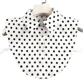 Avtakbar bluse svart prikker falske krage tips nakke falsk krage for jente