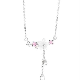 2PCS  Copper  Cherry Blossoms Charm Necklace for Women Choker Collares Wedding Party Jewelry