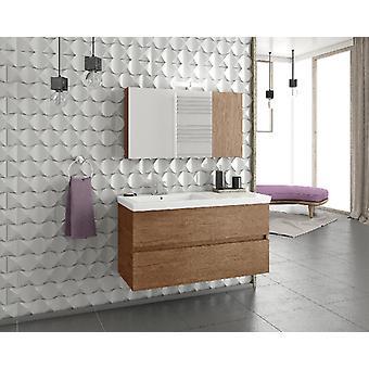 Set Mobili Luxus , Colore legno, Bianco in Truciolare Melaminico, LPB, Ceramica, Alluminio, ABS, Unita' Base con Lavabo: L100xP40xA50 cm