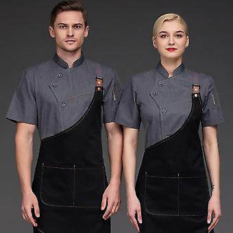 Chef Jacket And Apron Women Restaurant Kitchen Waiter Waitress Uniform
