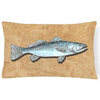Pillows carolines treasures 8809pw1216 speckled trout canvas fabric decorative pillow
