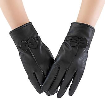 Mimigo Real Sheepskin Glove Genuine Leather Gloves For Women Winter Warm Lined Elegant Type Decorated With A Bow