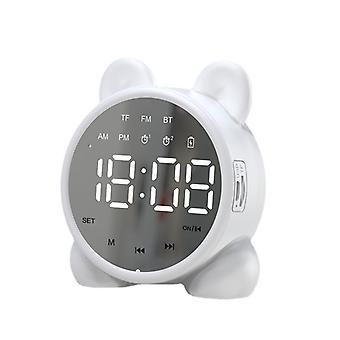 Multifunctional Bluetooth Alarm Clock Speaker, Desktop Clock With Snooze Function And Temperature Display, Mini Mirror Speaker, White