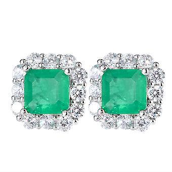 Green Zircon Women Silver Earring