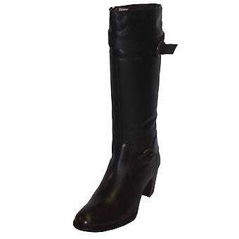 Womens Calf Height Zip Up Heeled Leather Boots