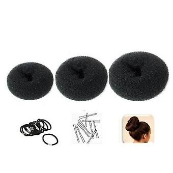"Set of 3 Crowns for Hair Bun ""Donut"" Black - 1 small (6cm diameter) + 1 medium (8cm) + 1 large (10cm) + 10 elastics"