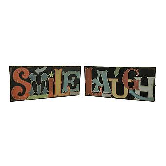 Smile & Laugh 2 Piece LED Lighted Canvas Wall Print Set