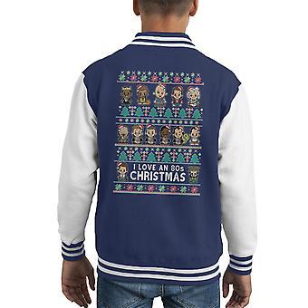Lil 80s Heros Christmas Knit Kid's Varsity Jacket
