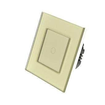 I LumoS Gold Glass Frame 1 Gang 1 Way WIFI/4G Remote Touch LED Light Switch Gold Insert