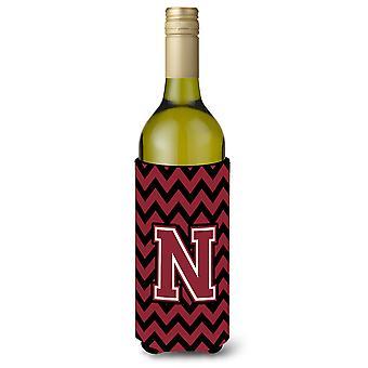 Letter N Chevron granaat en zwarte wijn fles drank isolator Hugger