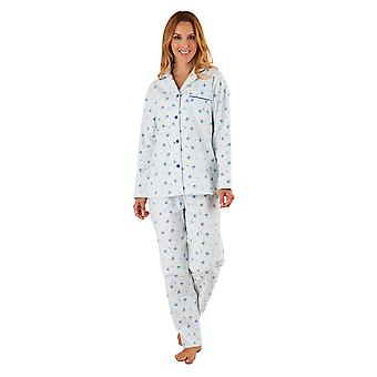 Slenderella PJ8213 Women's Blue Floral Brushed Cotton Pajama Long Sleeve Pyjama Set