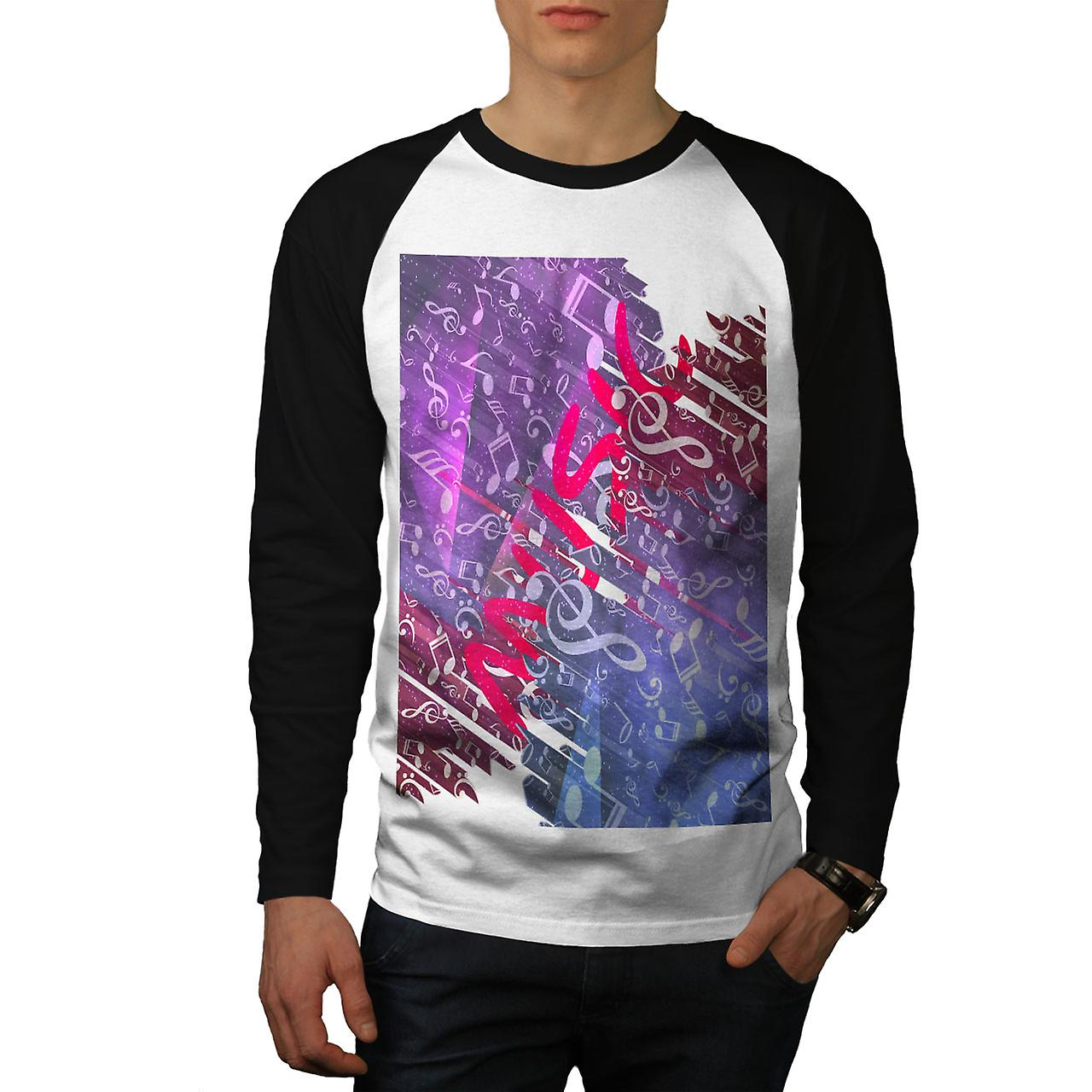 30a5d679d6689e Base Song Dance Music Men White (Black Sleeves)Baseball LS T-shirt ...