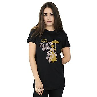Disney Women's Mary Poppins Floral Silhouette Boyfriend Fit T-Shirt