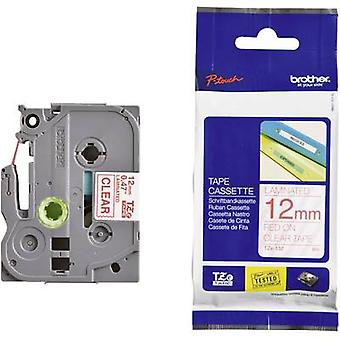 Etichettatura nastro Brother TZe, colore nastro TZe-132 TZ: Font trasparente colore: rosso 12 mm 8 m