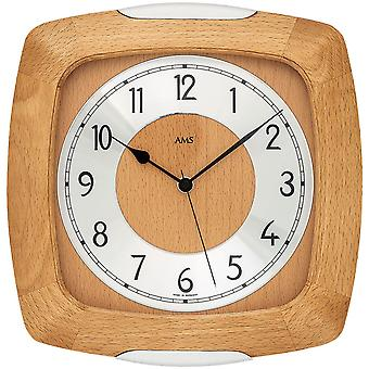 Wall clock radio radio controlled wall clock analog wood beech solid with glass 28 x 27 cm