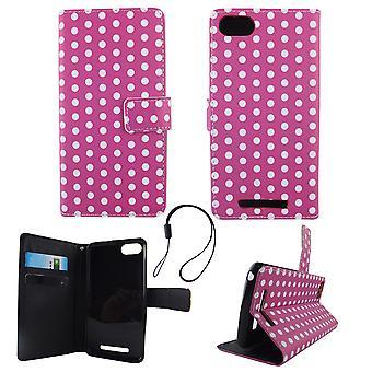Mobile phone case pochette pour mobile WIKO Lenny 3 violet à pois blancs