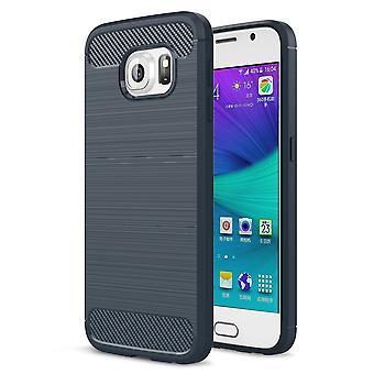 Samsung Galaxy S6 TPU asia carbon fiber optiikka harjattu suojaava operaatio sininen