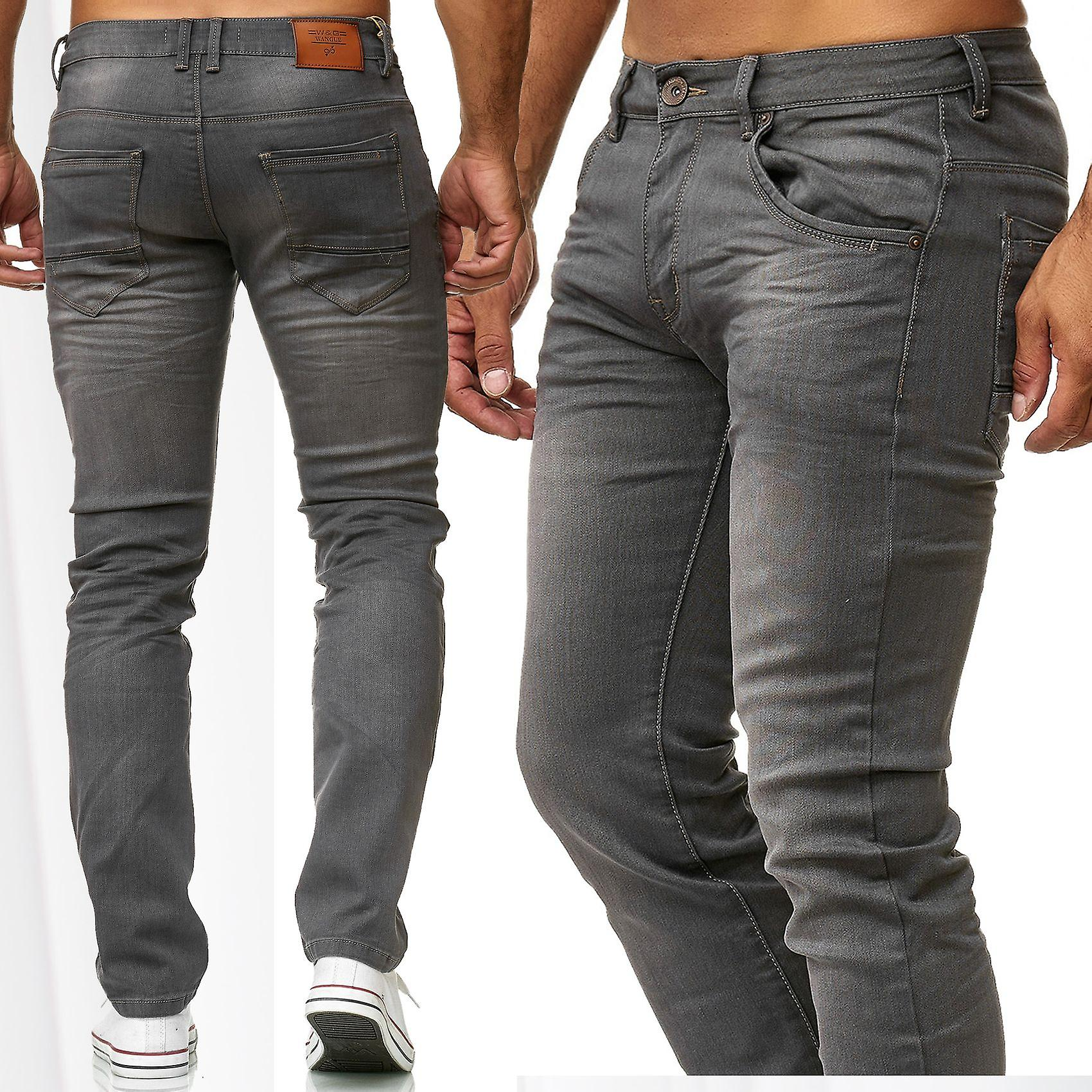 Mens Jeans Slim Fit bukser Denim grå klassisk sort Stonewashed Stretch brukes