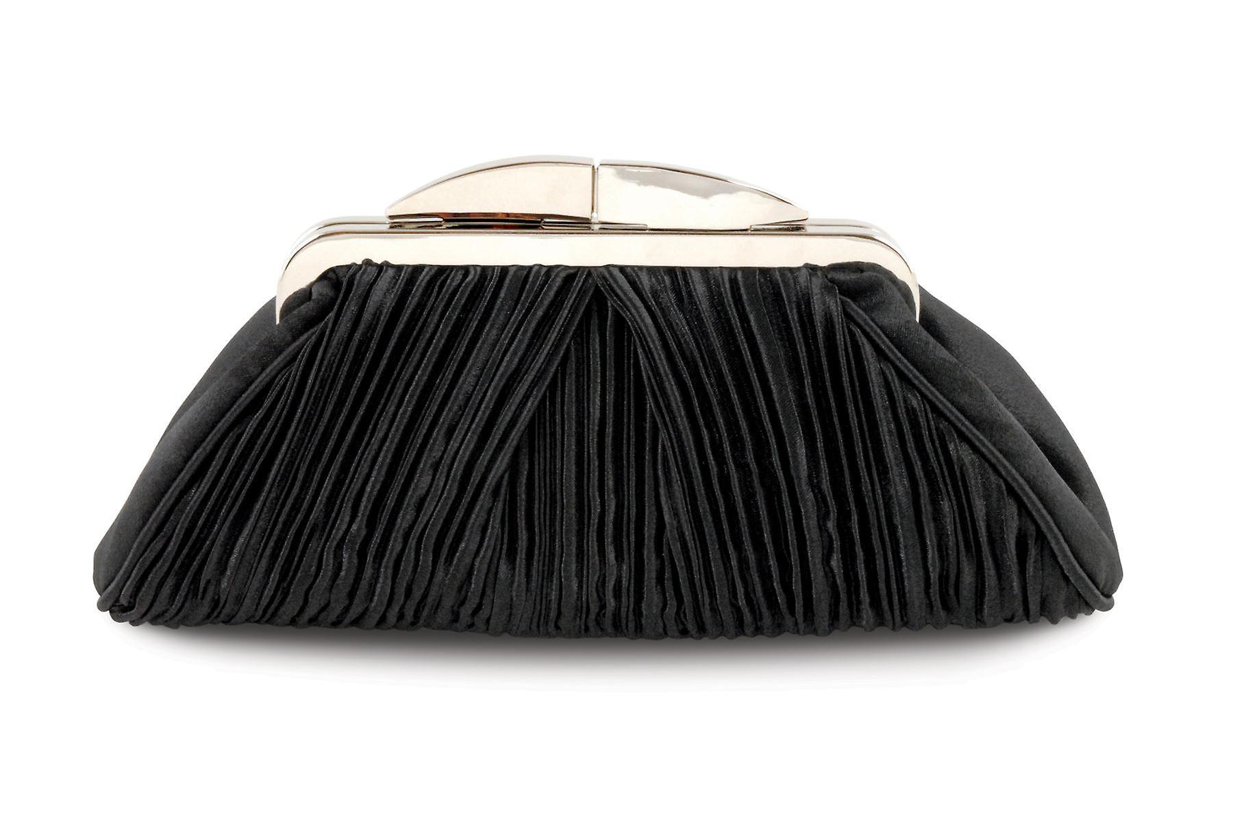 Ladies Ruffled Effect Diamante Clasp Accent Peep Toe Women's Clutch Purse Bag
