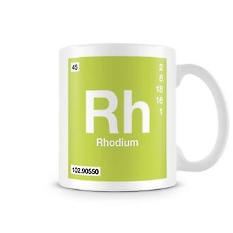 Scientific Printed Mug Featuring Element Symbol 045 Rh - Rhodium