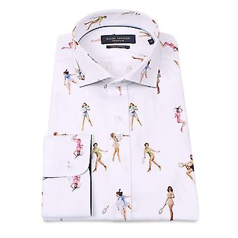 Guia Londres algodão Sateen garota Pin-up tenista imprimir Mens camisa
