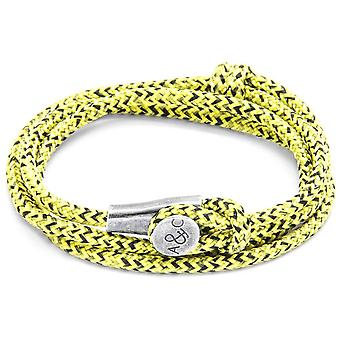 Anchor and Crew Dundee Silver and Rope Bracelet - Yellow Noir