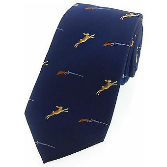 Lièvres de David Van Hagen et carabines tissé pays cravate en soie - marine