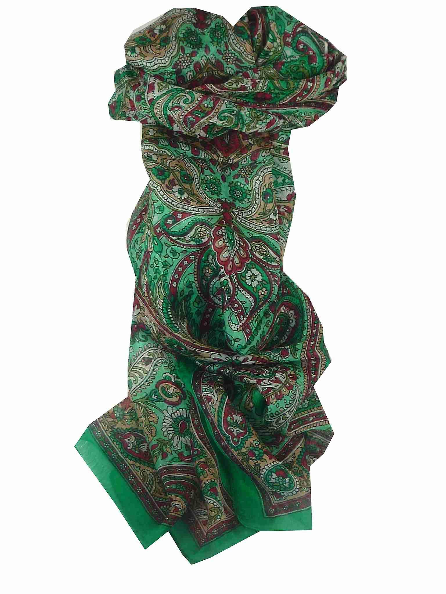Mulberry Silk Traditional Long Scarf Sara Green by Pashmina & Silk