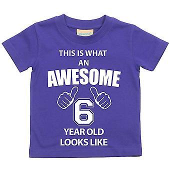 これは何の素晴らしい 6 年古いに見えるような紫の t シャツです。