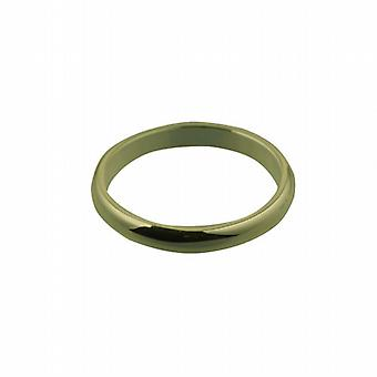 9ct Gold 3mm plain D shaped Wedding Ring Size Z