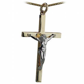 9ct or pas inverse 40x24mm bloc solide Croix jaune et blanche Crucifix avec une spiga chaîne 20 pouces