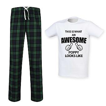 Mens This Is What An Awesome Poppy Looks Like Tartan Pyjama Set