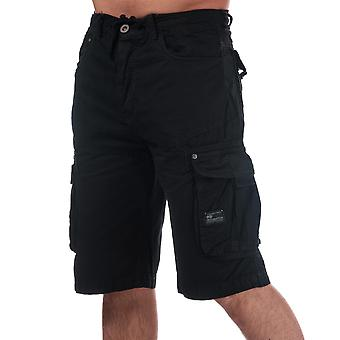 Mens Crosshatch Black Label Chaseforth Cargo Shorts In Black-Button Fastening-