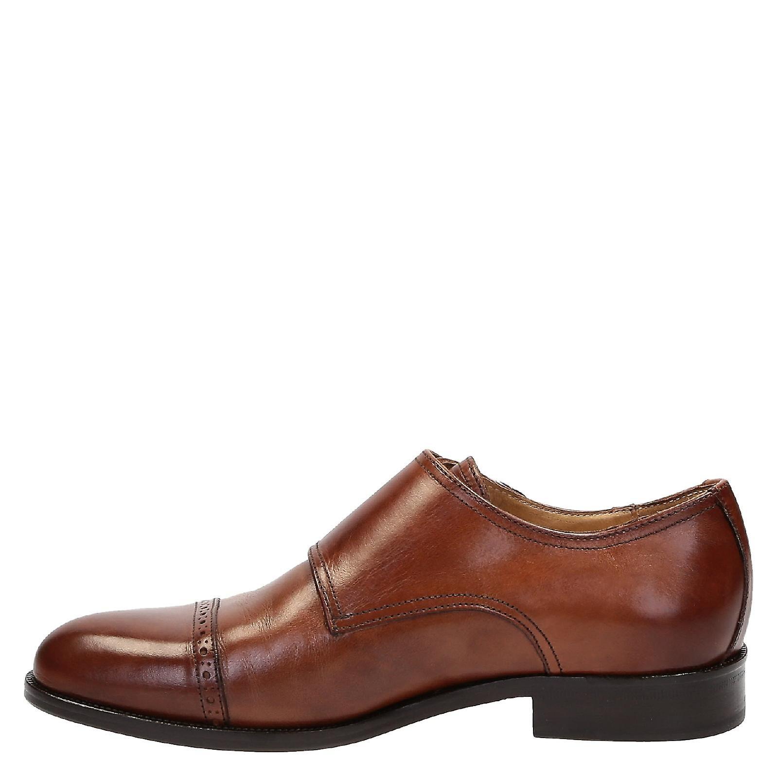 Leonardo Shoes 07169forma40fullnoce Men's Brown Leather Monk Strap Shoes 3r6sUT