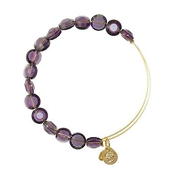 Alex and Ani Amethyst Luxe Bead Gold Bangle BBEB141G