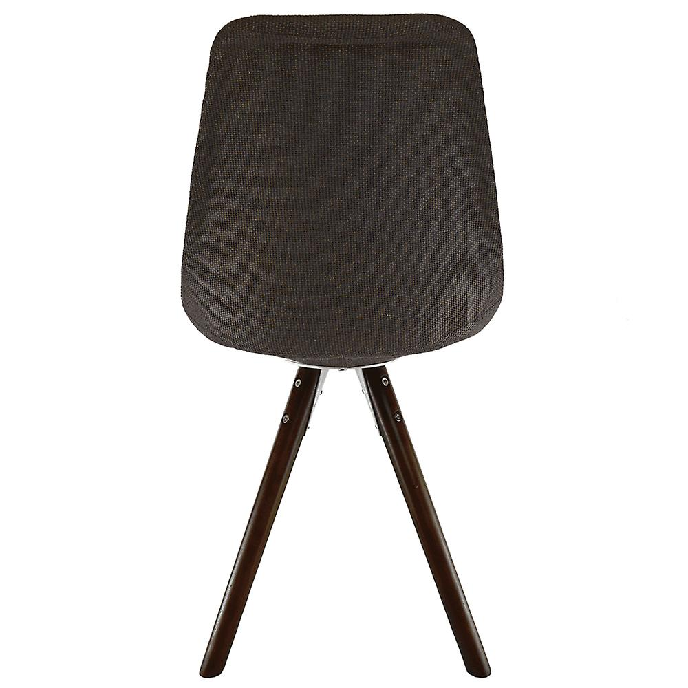 Fusion Living Eiffel Inspiré Brown Fabric Dining Chair with Pyramid Dark Wood Legs