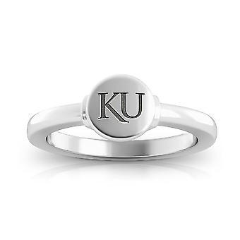University of Kansas wygrawerowany Sterling Silver Signet Ring