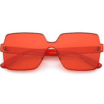 Yksiosainen neliö muotoinen rimless erittäin rohkea värikäs mono Block aurinko lasit 63mm