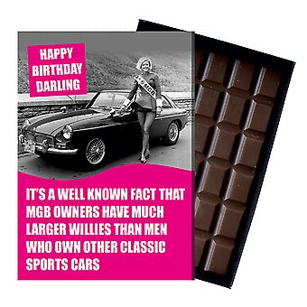 Funny Birthday Gift For MGB GT Roadster MG Owners Classic Car Chocolate Greeting Card CDL226