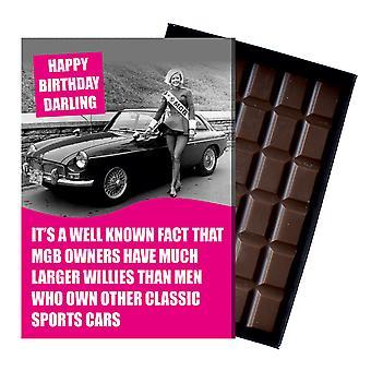 Lustige Geburtstagsgeschenk für MGB GT Roadster MG Besitzer Klassische Auto Schokolade Grußkarte CDL226