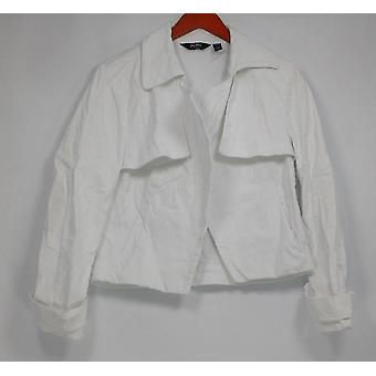 Du Jour Women's Open Front Cropped Jacket Wrap Style White A303287