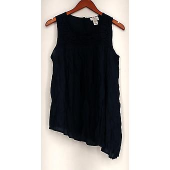 OSO Casuals Top Crochet Toke Asymmetric Woven Tank Blue Womens A430370