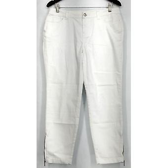 Kate & Mallory Jeans 5 Pocket Skinny w/ Ankle Zipper & Back White A428724