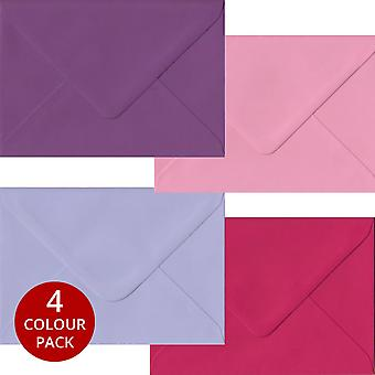 Pink Purple Pack 100 G5 Gummed Envelopes -Four Pink/Purple Colours