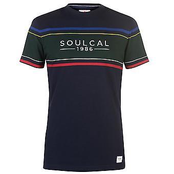 SoulCal Mens bröst Panel T Shirt Crew Neck Tee Top Kortärmad bomull Stripe