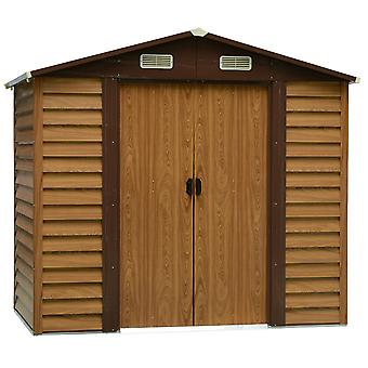 Outsunny 7.7ft x 6.4ft Outdoor Metal Garden Shed House Hut Gardening Tool Storage with Foundation and Ventilation Brown with wood grain